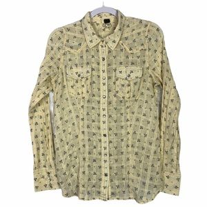We The Free Boho Corset Western Pearl Snap Blouse